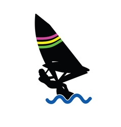 Girl sailing on the sea vector