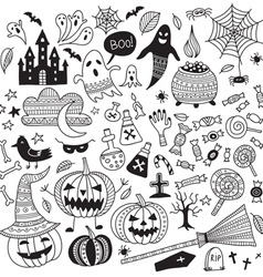 halloween items ornamental style set vector image vector image