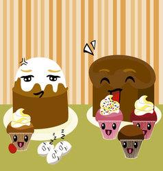 kawaii desserts vector image vector image