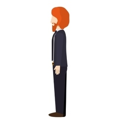 Man standing with left profile ginger hair vector