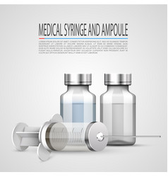 Medical syringe and ampoule objects on white vector