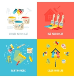 Painting work design concept vector