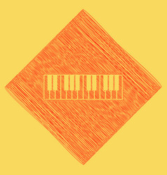 Piano keyboard sign red scribble icon vector