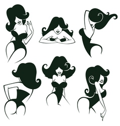 pin up girls collection vector image vector image