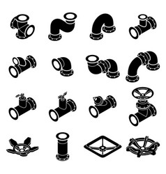 Pipeline constructor icons set isometric style vector