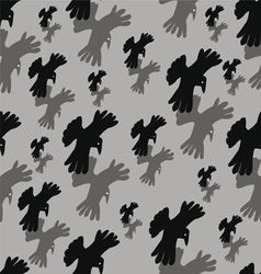 seamless background with pairs of the flying crows vector image