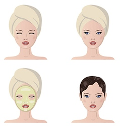 Set of fresh beautiful woman vector image