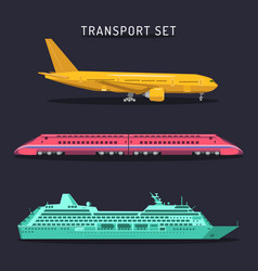 Set of transportation icons in flat style vector