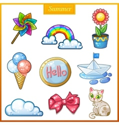 Summer set of cartoon candy icons vector image vector image