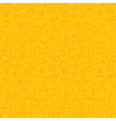 Thin summer line travel and resort yellow seamless vector