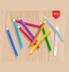 Top view of color pencils vector