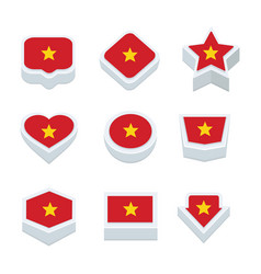 Vietnam flags icons and button set nine styles vector