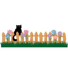 Cute black cat on a fence vector