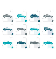 Stylized different types of cars icons vector