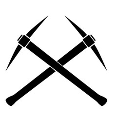 Silhouette of two crossed pickaxes vector