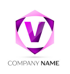 letter v symbol in the colorful hexagonal vector image
