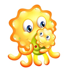 A yellow monster with a child vector
