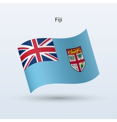 Fiji flag waving form vector