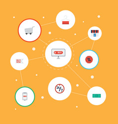 Flat icons purchase percentage shop and other vector
