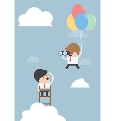 Business man flying with balloon and using binocul vector image