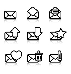 Envelopes icons with reflection vector