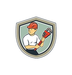 Plumber Holding Monkey Wrench Shield Cartoon vector image