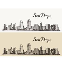 San Diego skyline e hand drawn sketch vector image