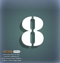 Number eight icon sign on the blue-green abstract vector