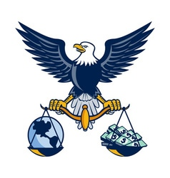 Bald eagle hold scales earth money retro vector