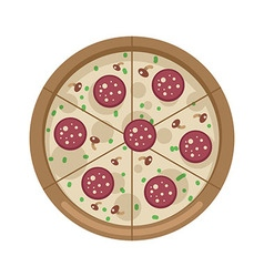 Pizza with mushrooms and salami vector