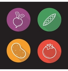 Vegetables flat linear icons set vector