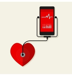 Health heart rate mobile monitoring phone vector
