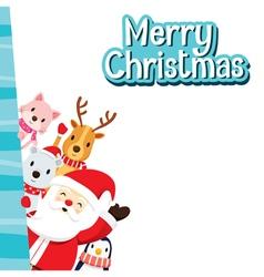 Christmas Greeting Card Santa Claus And Animals vector image