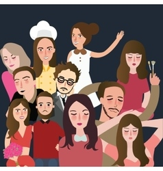 Friends picture together set of faces man woman vector