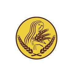 Demeter Harvest Wheat Grain Oval Retro vector image