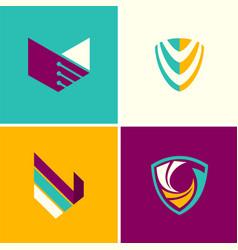 abstract shield technology logos vector image vector image