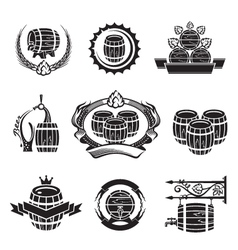 barrel icons set vector image