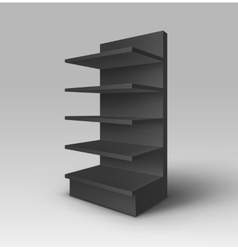Black exhibition trade stand rack with shelves vector