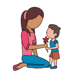 Boy giving flower mother celebration vector