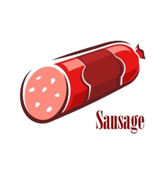 Cartoon red beef salami sausage vector