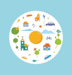 CIrcle city with cute element vector image