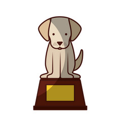Cute dog mascot in the podium vector