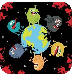 Cute monsters of apocalypse vector