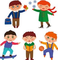 cute schoolboys vector image