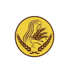 Demeter harvest wheat grain oval retro vector