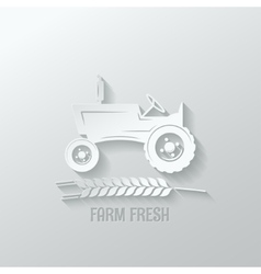 farm tractor cut paper background vector image vector image