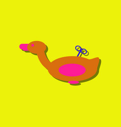 Flat icon design kids duck automatic in sticker vector