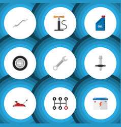 Flat icon workshop set of wheel pump muffler vector