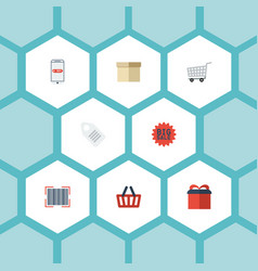 flat icons purchase present case and other vector image vector image