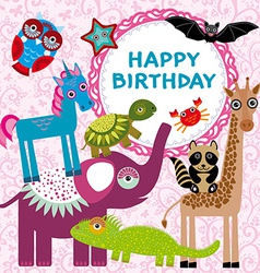 Funny animals party card design on a pink floral vector image